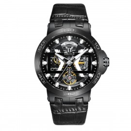 OBLVLO New Design Automatic Skeleton Dial Leather Strap Big Watch UM-BBB