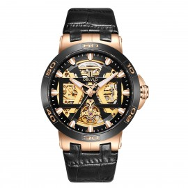 OBLVLO New Design Automatic Skeleton Dial Leather Strap Big Watch UM-TBG
