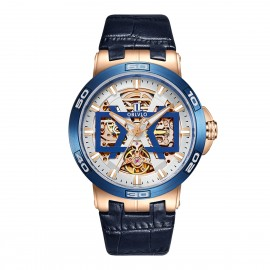 OBLVLO New Design Automatic Skeleton Dial Leather Strap Big Watch UM-TLP