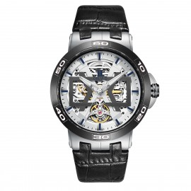 OBLVLO New Design Automatic Skeleton Dial Leather Strap Big Watch UM-TWB