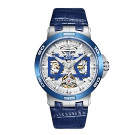 OBLVLO New Design Automatic Skeleton Dial Leather Strap Big Watch UM-TLL