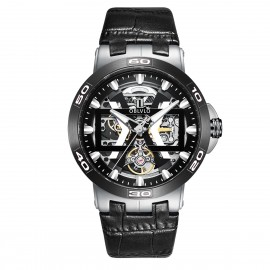 OBLVLO New Design Automatic Skeleton Dial Leather Strap Big Watch UM-TBB