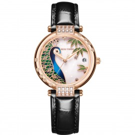 Love Peacock Automatic Leather Women Watch RGA1587-PWB