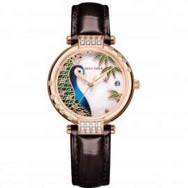 Love Peacock Automatic Leather Women Watch RGA1587-PWS